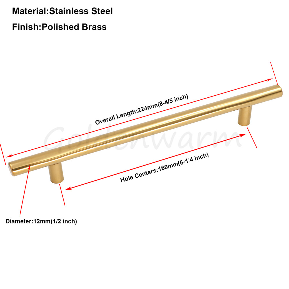 Polished Brass Gold Kitchen Cabinet Pulls Hole Centers 160 mm (6 1/4 ...
