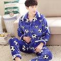 Pijamas Dos Homens do inverno Espessamento Quente Dos Homens de Flanela Conjuntos de Pijama Salão Desgaste Confortável Coral Fleece Homens Sleepwear Homewear Homens