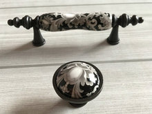 Black Flower Ceramic Knob Handle Door Handles Pulls Drawer Pull Rustic Kitchen Cabinet Handle  Furniture Hardware