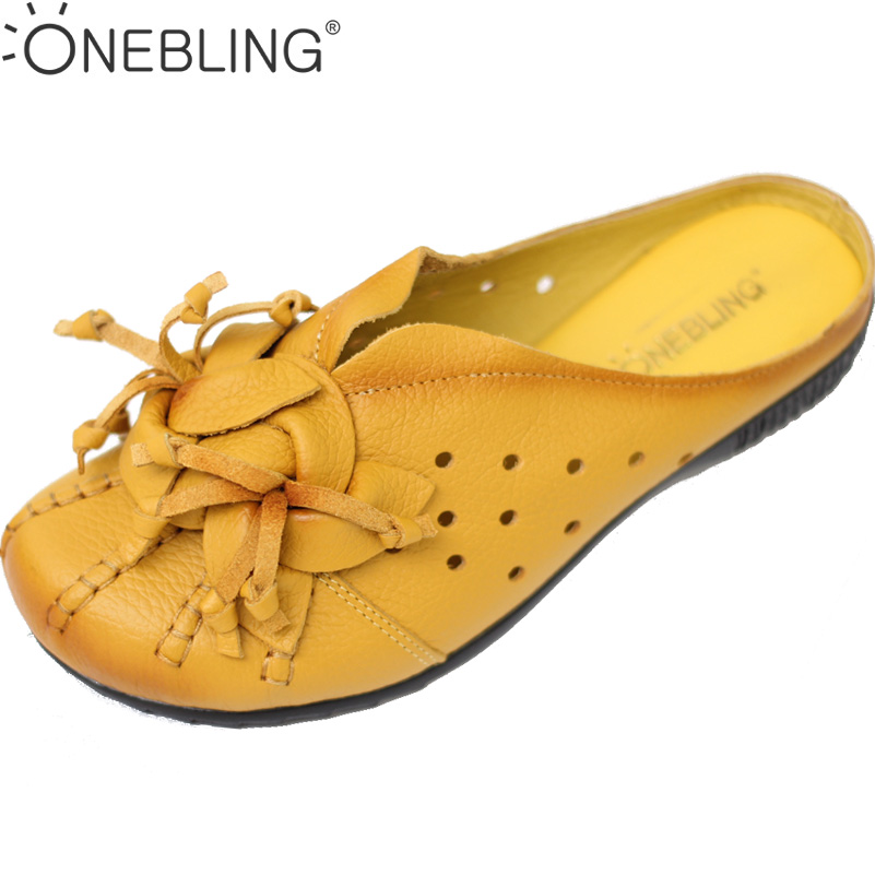 Summer Women Leather Slippers 2017 Spring Fashion Flower Genuine Leather Casual Shoes Soft Breathable Hollow Out Flat Shoes discount 2018 fashion leather casual flat shoes women sandals summer shoes flat hollow comfortable breathable size 34 44