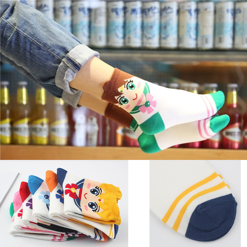 6pairs/lot New women sock Lovely cartoon sweet Sailor Moon series absorbent breathable and comfortable casual socks