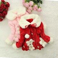 2015 CHILDREN Furry COAT Faux Fur Coat Kids Flowers Outerwear Baby Girl winter Furry Jacket coat GIRL WINTER GARMENTS