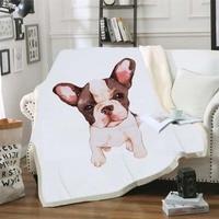 Pet Dog Soft Sherpa Throw Blanket Cartoon Bulldog Bedspread Adults Blanket For Beds Pug Puppy Flower Plush Sofa Manta Thin Quilt