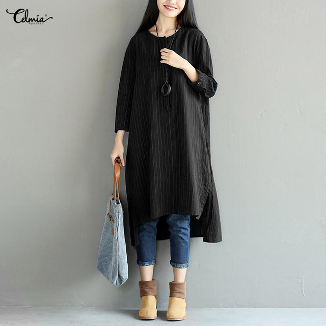 267907c6ebd Clemia Plus Size Women Long Sleeve Striped Vintage Linen Dress Casual Side  Split Loose Button Shirt