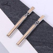 Badu Long Metal Dangle Earring for Women Gold Silver Alloy Simplicity Geometric Drop Earrings Fashion Jewelry Halloween