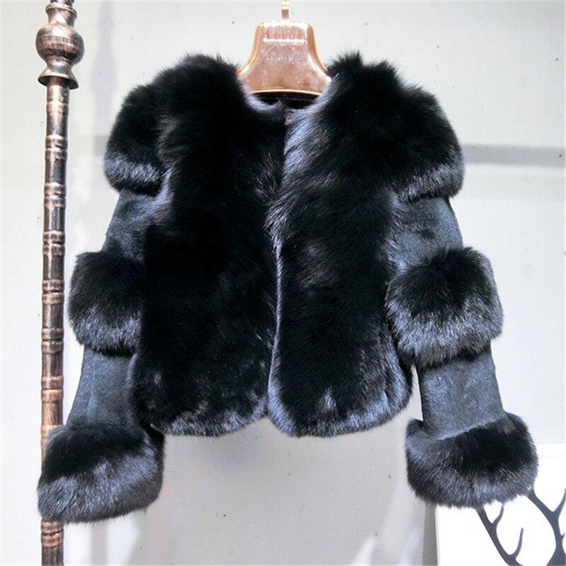 Lapin 2018 Femmes Nouvelle Renard Automne Naturel black Beige Mode Pardessus Veste Fourrure Véritable dark Grey De Manteau Les Fox Pour Réel Hiver SOxvCWdC