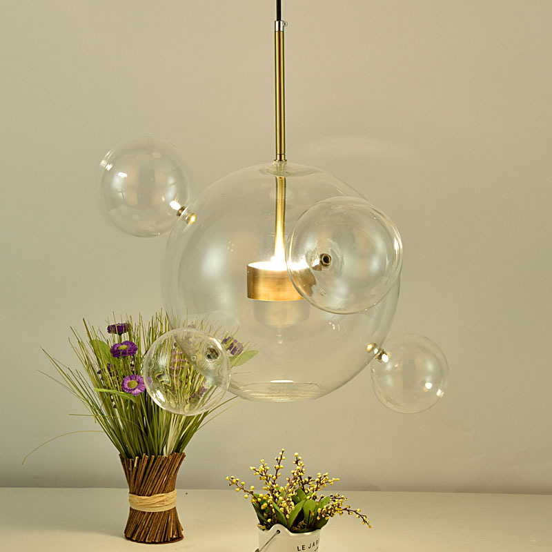 Creative Personality Designer Glass Bubble Ball Pendant Light Simplicity Bar Living Room Clear Glass LED Lighting Fixture