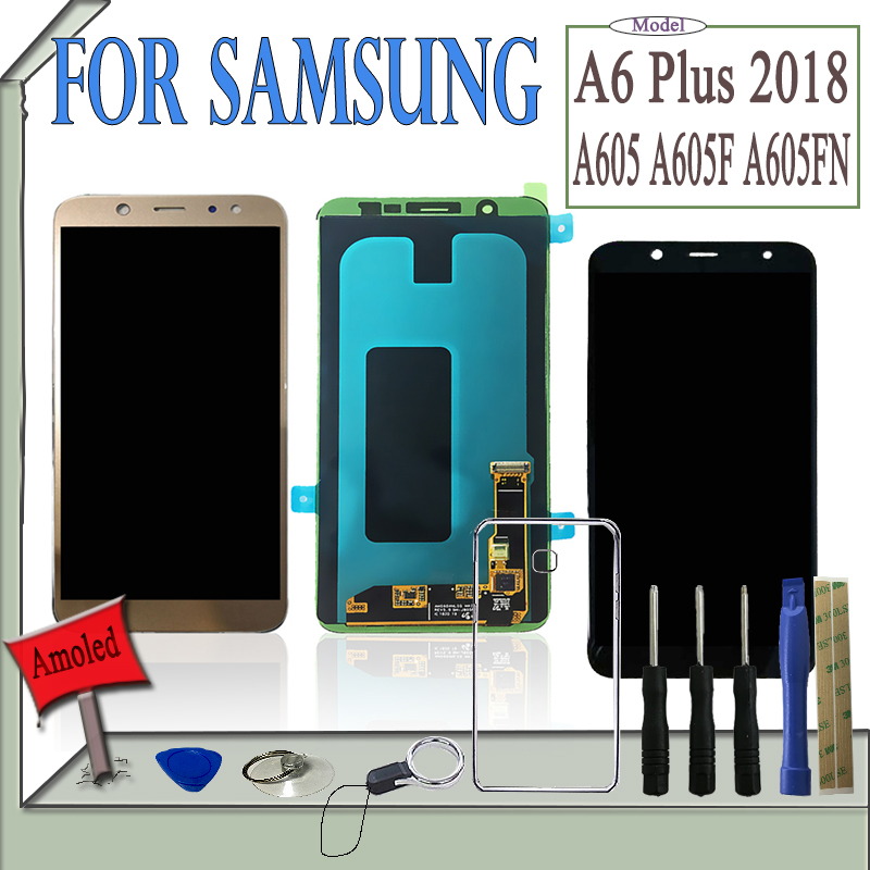 SZMUGUA 6.0 Amoled LCD For Samsung Galaxy A6 Plus 2018 A605 A605F A605FN LCD Display Touch Screen OLED Digitizer With ToolsSZMUGUA 6.0 Amoled LCD For Samsung Galaxy A6 Plus 2018 A605 A605F A605FN LCD Display Touch Screen OLED Digitizer With Tools