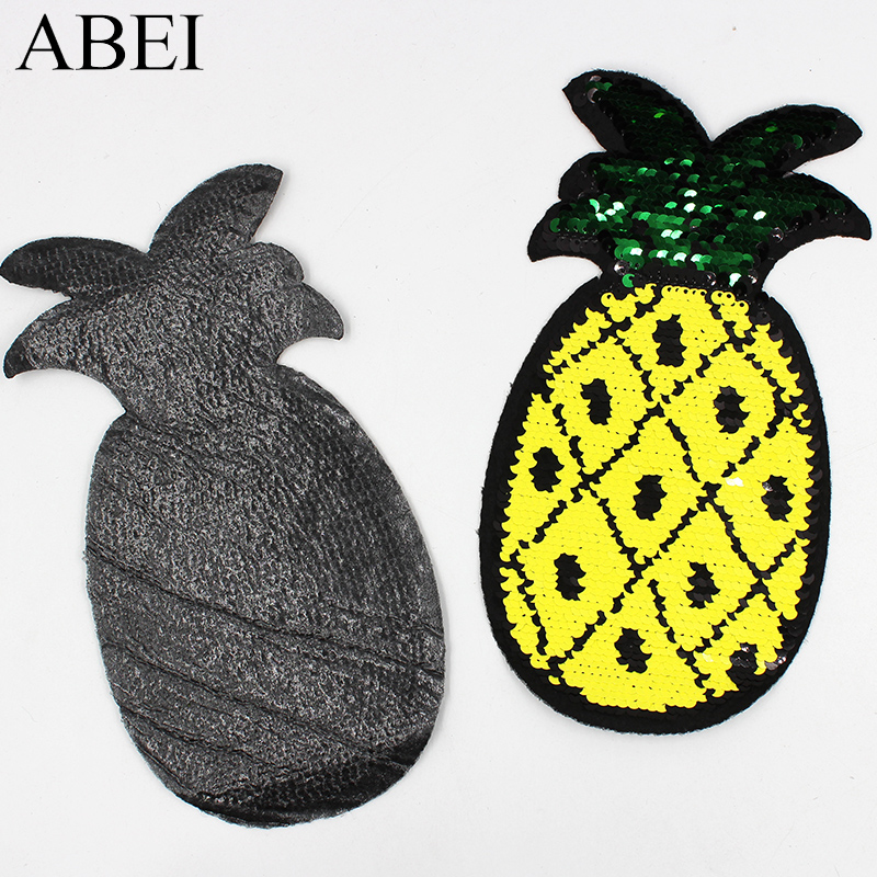 2pcs/lot Diy Iron On Two Way Reversible Big Pineapple Patches Garment Jeans Backpack Sew Embroidery Applique Apparel Stickers