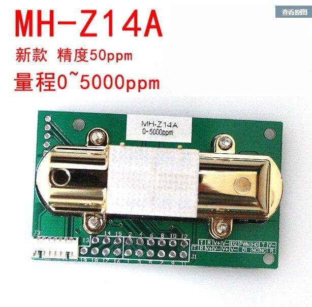 Gratis verzending NDIR CO2 SENSOR MH Z14A infrarood kooldioxide sensor module, seriële poort, PWM, analoge uitgang met kabel MH Z14