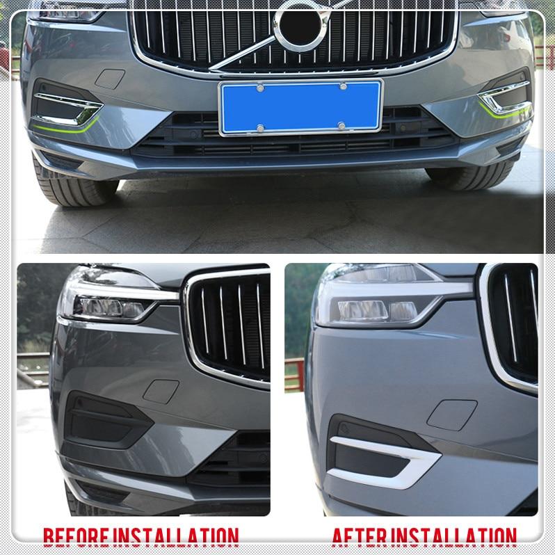 For 2018 2019 Volvo XC60 Chrome Front Bumper Up Fog Light Lamp Cover Trim 2pcs