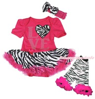 Valentine LOVE Heart Pink Body Zebra Baby Kleid Beinwärmer Outfit NB-18M