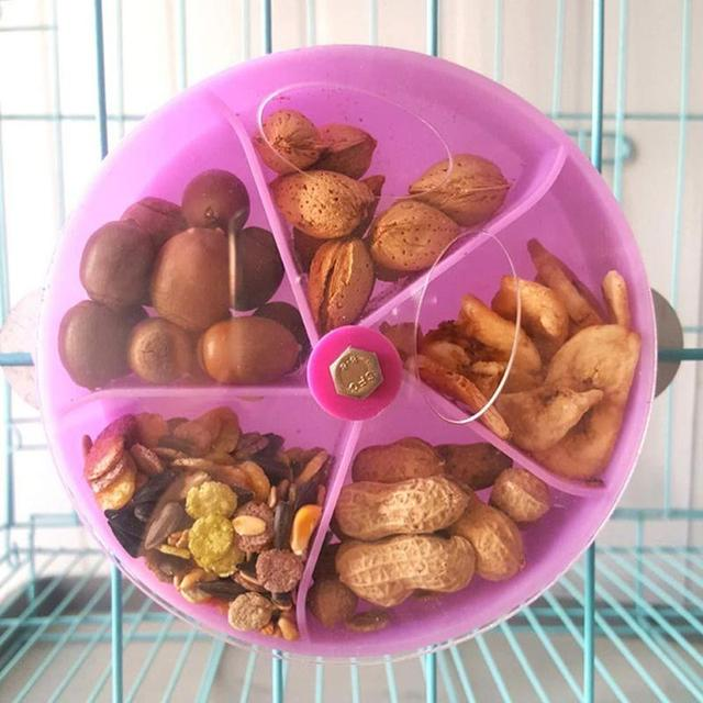 Rotating Acrylic Parrot Feeder Toys Parrots Small Animals Pet Bird Foraging Ball Food Plate Wheel Pendant Cage Decoration 2