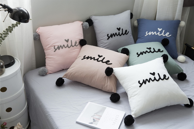 40%Cotton Chic Smile Letters Embroidery Cushion Cute Round Balls New Round Decorative Bed Pillows