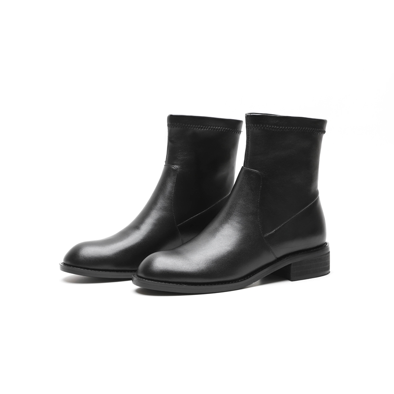 Talons Med Glissent Cuir Bottes Cr1620 Automne Rond Bout Hiver Véritable Black Chaussures Épais Courtes Femmes Sur Talon En Enmayer b Cheville Noir wgZq64qX