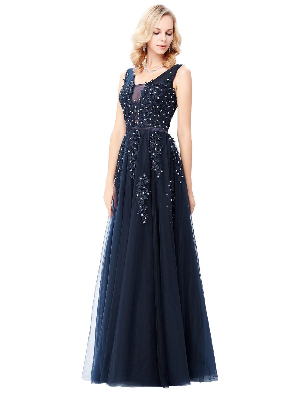Grace Karin Tulle Appliques Celebrity Prom Dress Sexy V Back Sleeveless Long Royal Blue Robes De Soiree 2017 Longue Prom Dresses 13