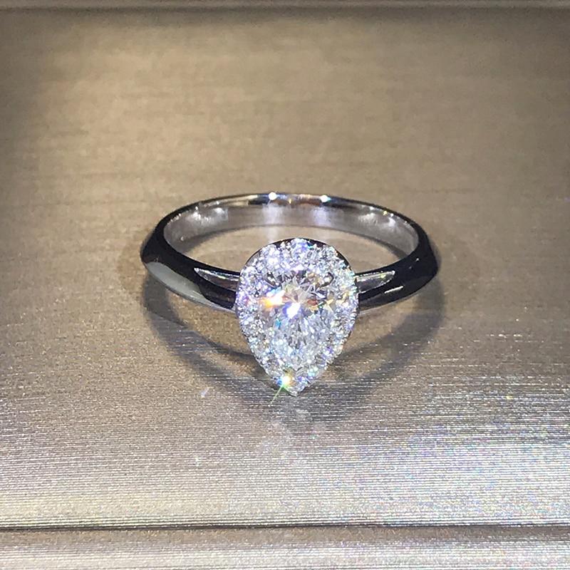 100% 18 K 750Au ทอง Moissanite แหวนเพชรแต่งงานแหวน D สี VVS แห่งชาติใบรับรอง MO H1014-ใน ห่วง จาก อัญมณีและเครื่องประดับ บน   3