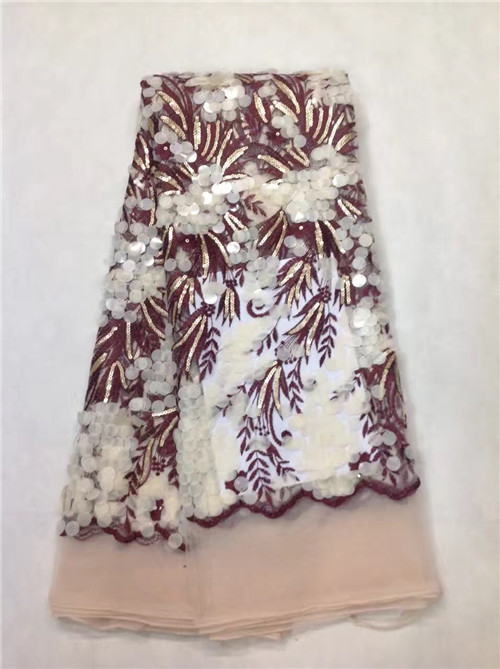 2017 новое поступление красивый французский Блёстки кружевной ткани витой Блёстки модные яркие Африканский кружевной ткани
