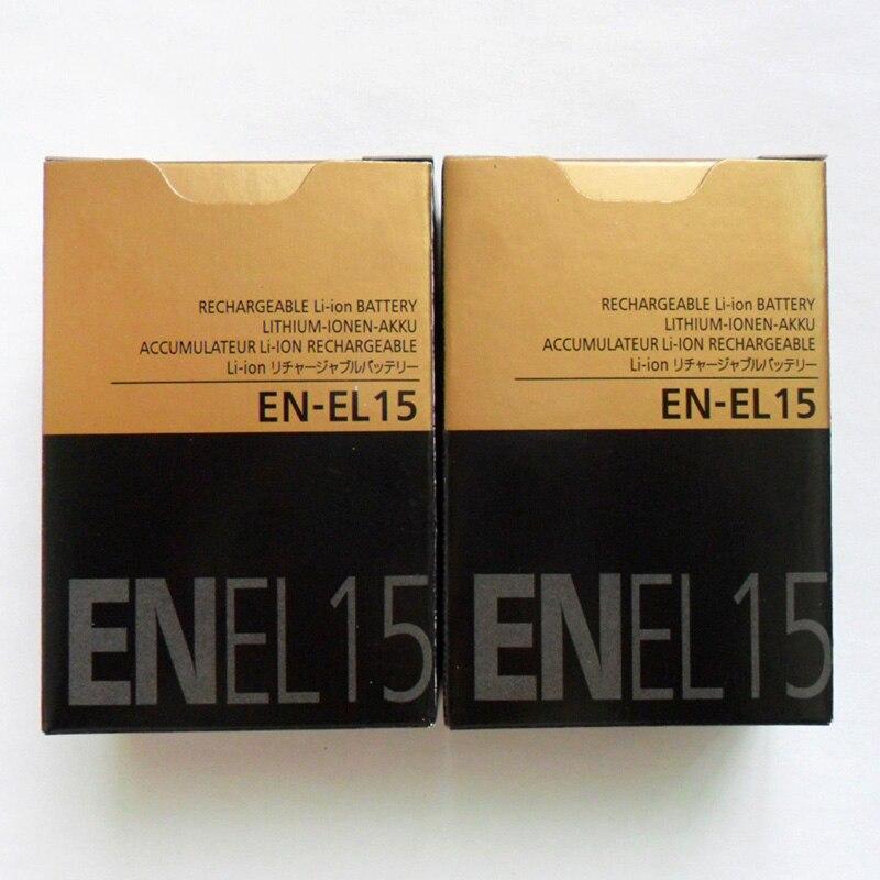 2PCS/Lot 1900mAh EN-EL15 ENEL15 EN EL15 Camera Battery For Nikon D850 D810A D810 D800 D750 D610 D600 D7000 D7100 D7200 D7500 V1
