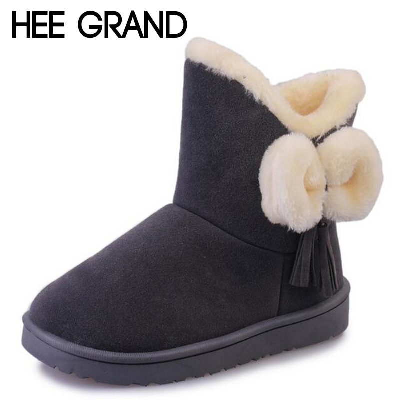 HEE GRAND Flock Bowtie Women Snow Boots Soft Comfortable Cotton Winter Shoes Platform Warm Fur Plush Ankle Boots Woman XWX5345 hee grand sweet faux fur slippers fashion flats shoes woman slip on bowtie winter warm women shoes 4 colors size 36 41 xwt966