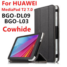 Case Cowhide For Huawei MediaPad T2 7.0 Protective Smart cover Genuine Leather Protector Tablet PC For HUAWEI BGO-DL09 BGO-L03