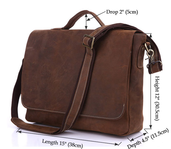 100%Genuine Cow Leather Men's Briefcases Handbag Vintage Brown Business 15