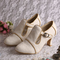 Wedopus MW189 Customized Chunky Heel Wedding Shoes T-strap Off White Lace in Winter