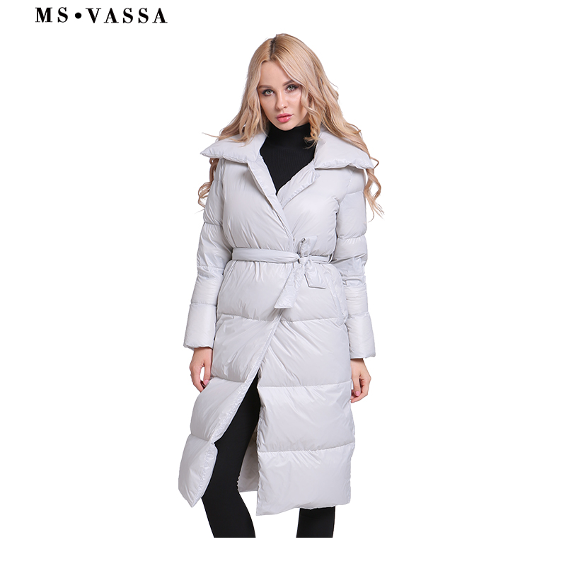 MS VASSA Women   Down   Jacket 2018 New Winter thick Ladies long   Coats   plus size 5XL 6XL white duck   down   turn-  down   collar outerwear