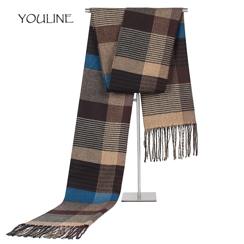 YOULINE 2017 Winter scarf men striped cotton scarves male brand shawl Warm cashmere bufandas Striped scarf with tassels S17425