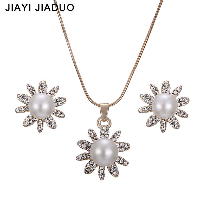 jiayijiaduo Classic Pearl Bridal Jewelry Gold-color Necklace Earrings Set Flower Pendant For Wedding Party Costume Accessories