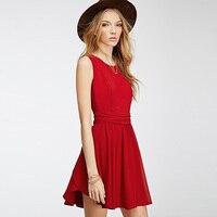 أزياء فستان عارضة المرأة الصيف نمط الأحمر الشيفون فساتين مكتب سليم الخصر أكمام ألف خط الطيات تصميم vestidos Y82069D