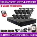 Casa de 8 canais cctv dvr sistema sony 1200tvl ir à prova d' água Câmeras ao ar livre 960 H 8ch Gravador dvr Kit câmera com 1 TB hdd