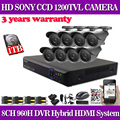 Home 8 channel CCTV dvr system Sony 1200TVL IR waterproof outdoor Cameras 8ch 960H dvr Recorder camera Kit with 1TB hdd