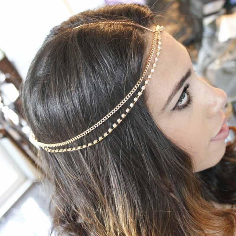 Classic Women Multilayer Chain Drop Rhinestone Tassels Headband Hair Accessorie Forehead Head Chain Headpiece Jewelry T009