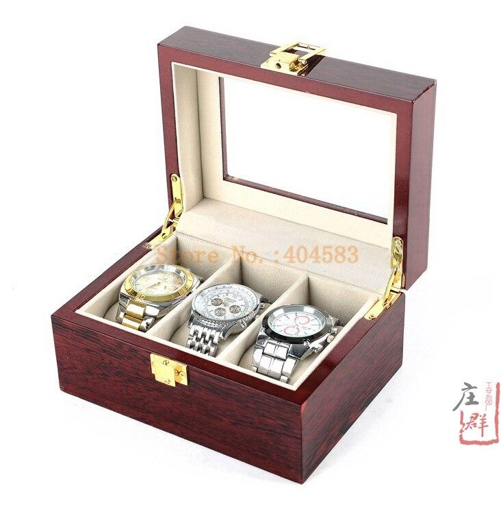 Free shipping 3 slot glossy mahogany wood rectangle watch box for