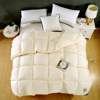 Luxury Beige Pink White 100% Feather Fabric Autumn Winter Thick Duvet Bread Shape Comforter Quilt Bed Set Twin Queen King Size