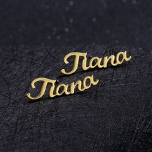 One Pair Personalized Custom Name Earrings For Women Customize Initial Cursive Nameplate Stud Earring Gift Best Friend Girls