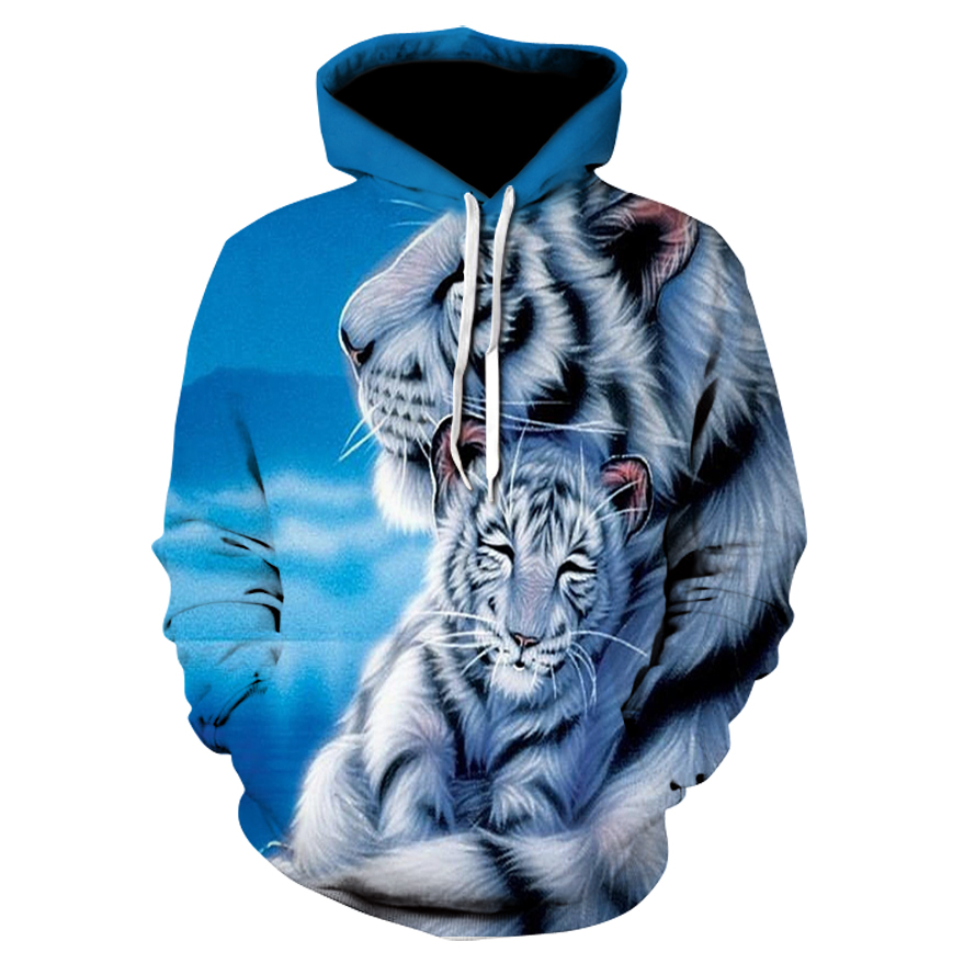 New animal-print hoodie for men 3d hoodie brand sweatshirt jacket premium pullover stylish tracksuit two tiger street coats