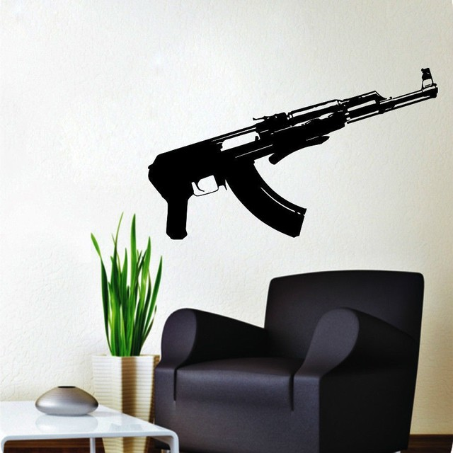 creative wall decal ak47 gun russia wall sticker home decor art