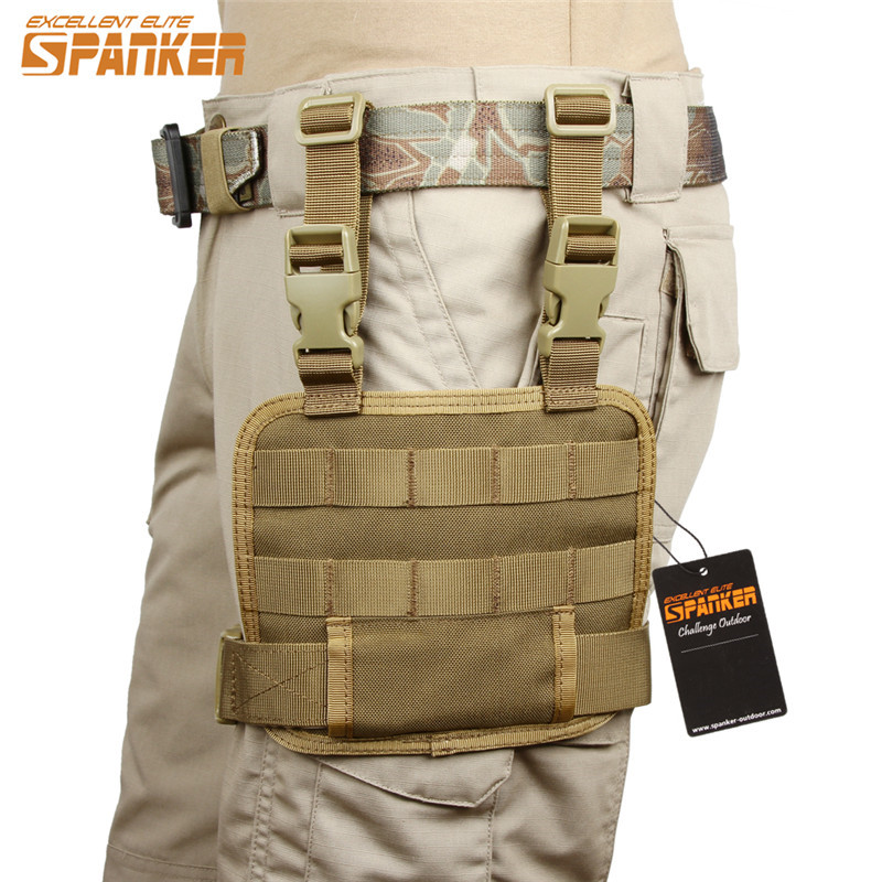 SPANKER Molle <font><b>Magazine</b></font> Pouches Outdoor Military Tactical Hunting Cartridge Leg Bags Pack Accessory Airsoft Leg Plate Mesh Tools