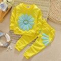 BibiCola детей способа лук подсолнечника девушки установленные одежды младенца девушки весна одежда наборы малышей детей повседневная спортивный костюм набор