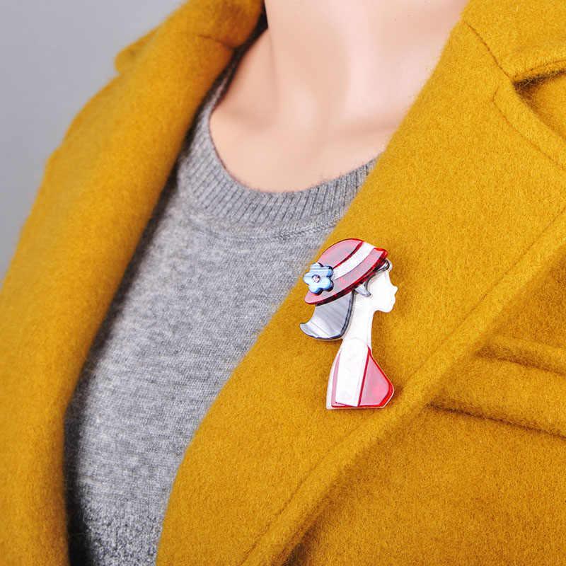 Blucome di Modo Cappello Rosso Ragazza Spilla a Forma di Struttura Naturale Acrilico Spille Gioielli Per Le Donne del Vestito del Cappotto Sciarpa Accessori Spilli