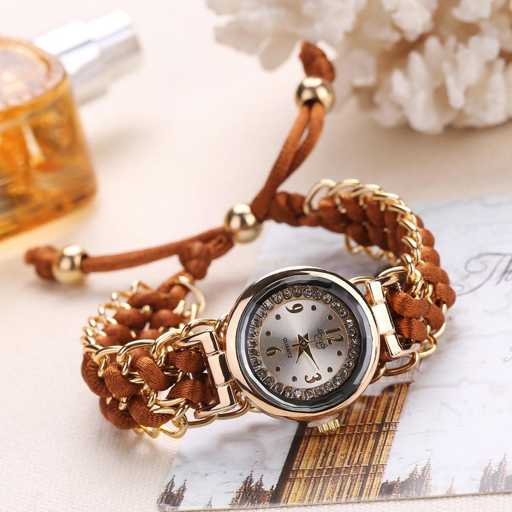 Women Watches Fashion Lady Knitting Rope Chain Winding Rhinestone Dial Bracelet Quartz Wrist Watch Relogio Feminino Clock