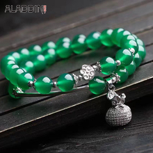 Aladdin Natural Green Chalcedony Bracelet Many laps Crystal Hand Catenary Silver Accessories for friend women men