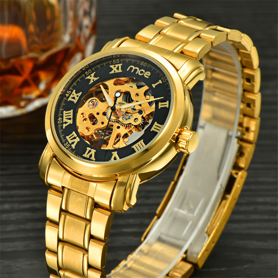 MCE Gold Skeleton Stainless Steel Designer Mens Watches Top Brand Luxury Automatic Casual Mechanical Watch Clock Men Wristwatch tevise men black stainless steel automatic mechanical watch luminous analog mens skeleton watches top brand luxury 9008g