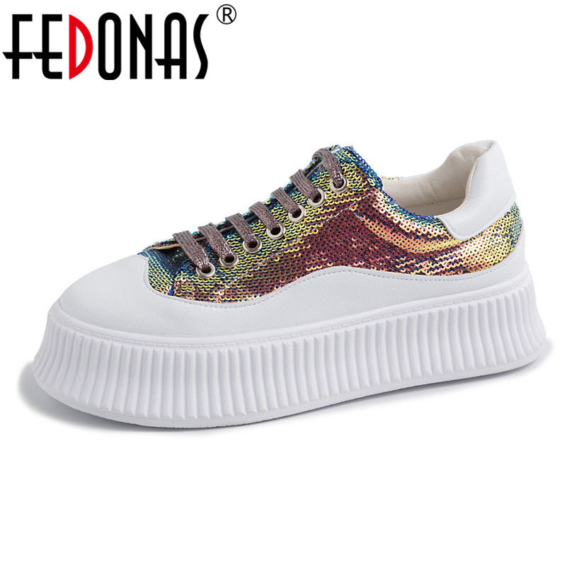 FEDONAS 2019 Fashion Sexy Women Flats Heels Casual Shoes Lace Up Genuine Leather Round Toe Sport