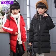 HSSCZL девушки пуховики 2016 зима сгущать девушки вниз пальто дети куртку детей верхняя одежда пракасом пальто с капюшоном длинные 5-14 возраст