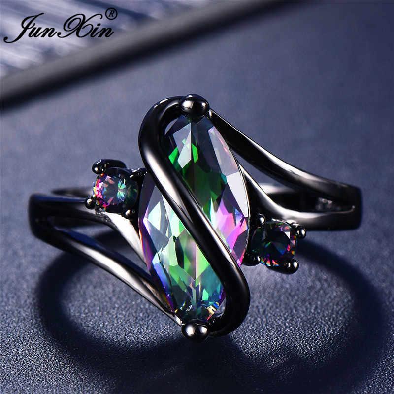 11 สีที่ไม่ซ้ำกันลึกลับหญิงสาวสายรุ้งแหวนแฟชั่น 14KT สีดำทองงานแต่งงานเครื่องประดับแหวนผู้หญิง