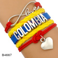 (10 Pieces/Lot) Infinity Love Colombia Bracelet Heart Multilayer Wrap Columbia Flag Bracelet Blue Red Yellow Color Wristband