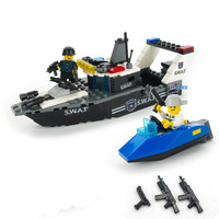 166pcs Coastguard Cutter CITY POLICE Military WW2 Boat SWAT Soldier Army Navy Weapon Mini Building Blocks